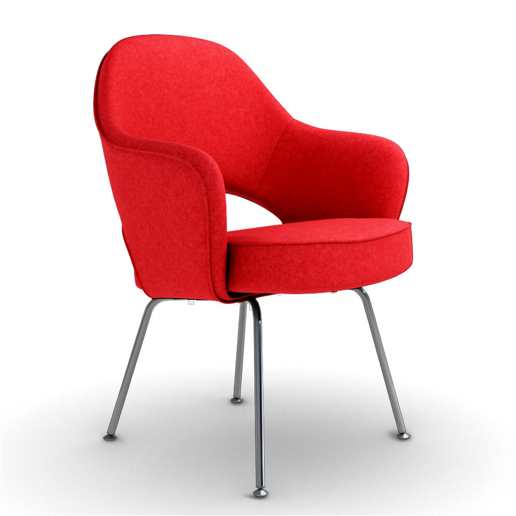 Eero Saarinen Executive Armchair - Steel Legs - Cashmere-Imperial Red