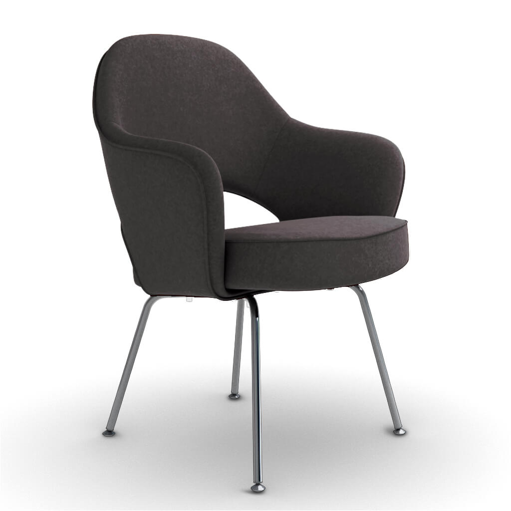 Eero Saarinen Executive Armchair - Steel Legs - Boucle Wool-Charcoal Grey