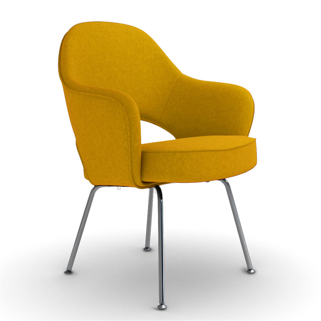 Eero Saarinen Executive Armchair - Steel Legs - Boucle Wool-Yellow