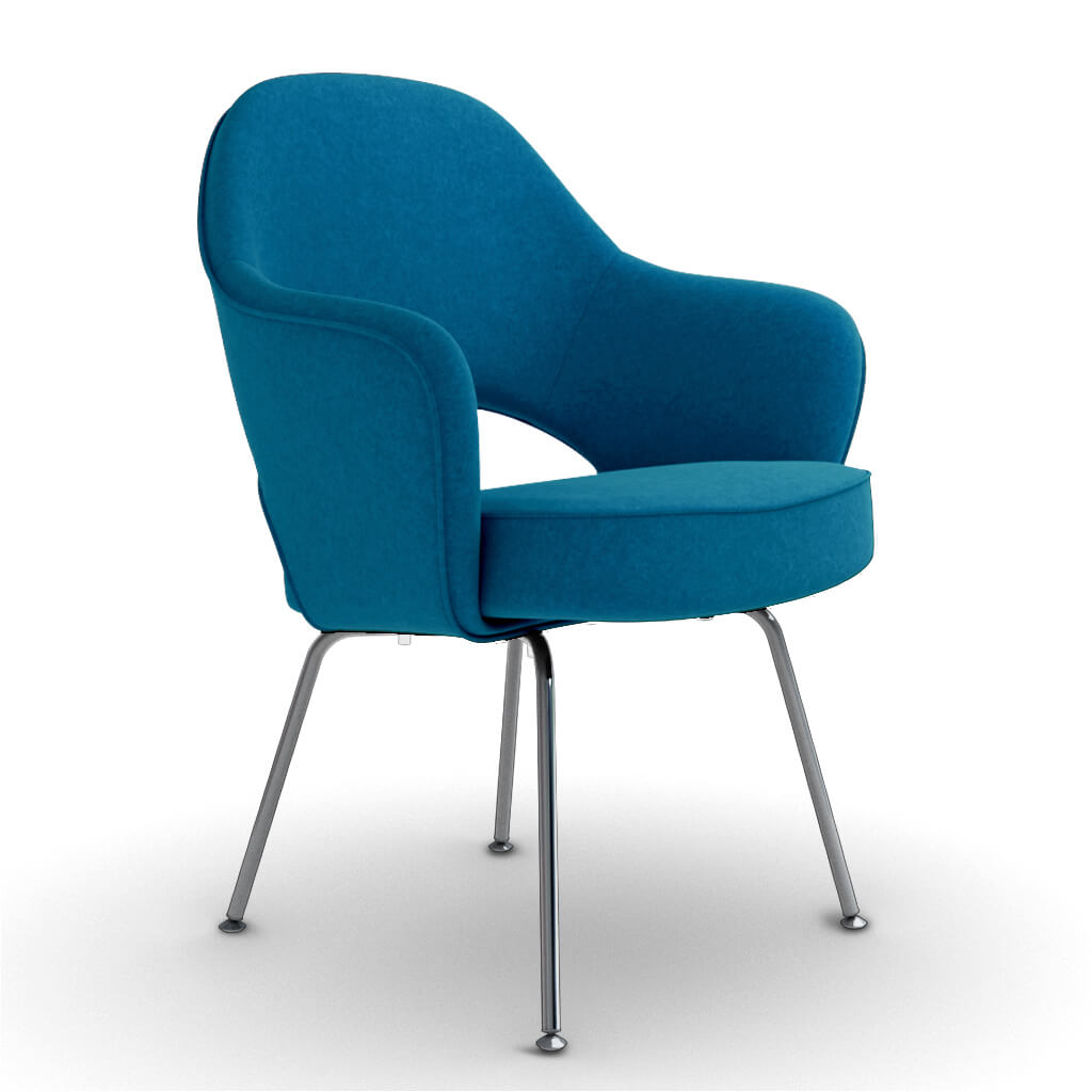 Eero Saarinen Executive Armchair - Steel Legs - Boucle Wool-Ocean