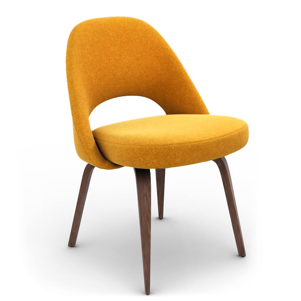 Side Chair Wood Wool Yellow Walnut Stain