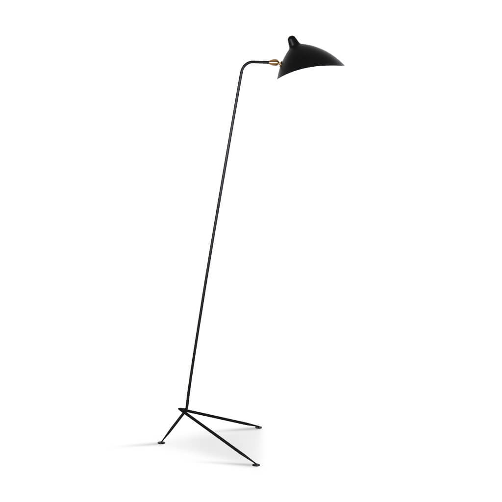 Serge Mouille One-Arm Floor Lamp - Black