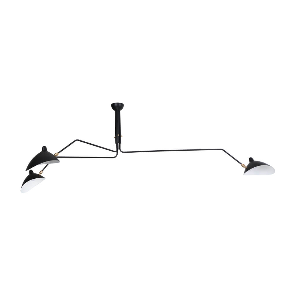 Serge Mouille Three-Arm ceiling Lamp - Black