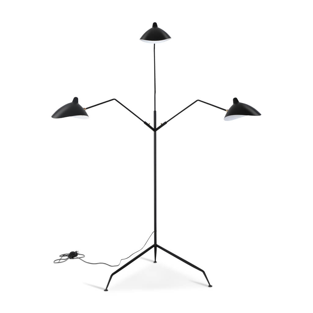 Serge Mouille Three-Arm Floor Lamp - Black