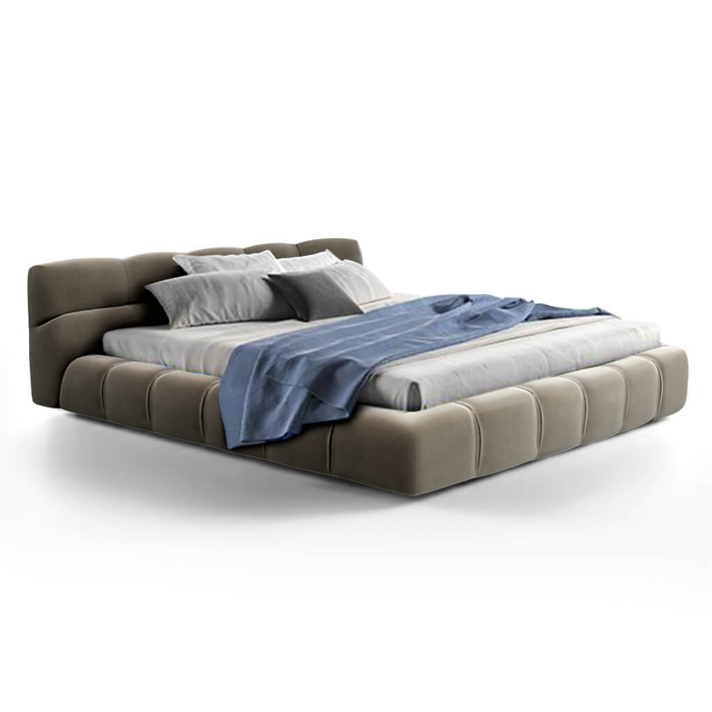 Tuftytime Bed - Chenille Helios-Pewter Grey / California King Size