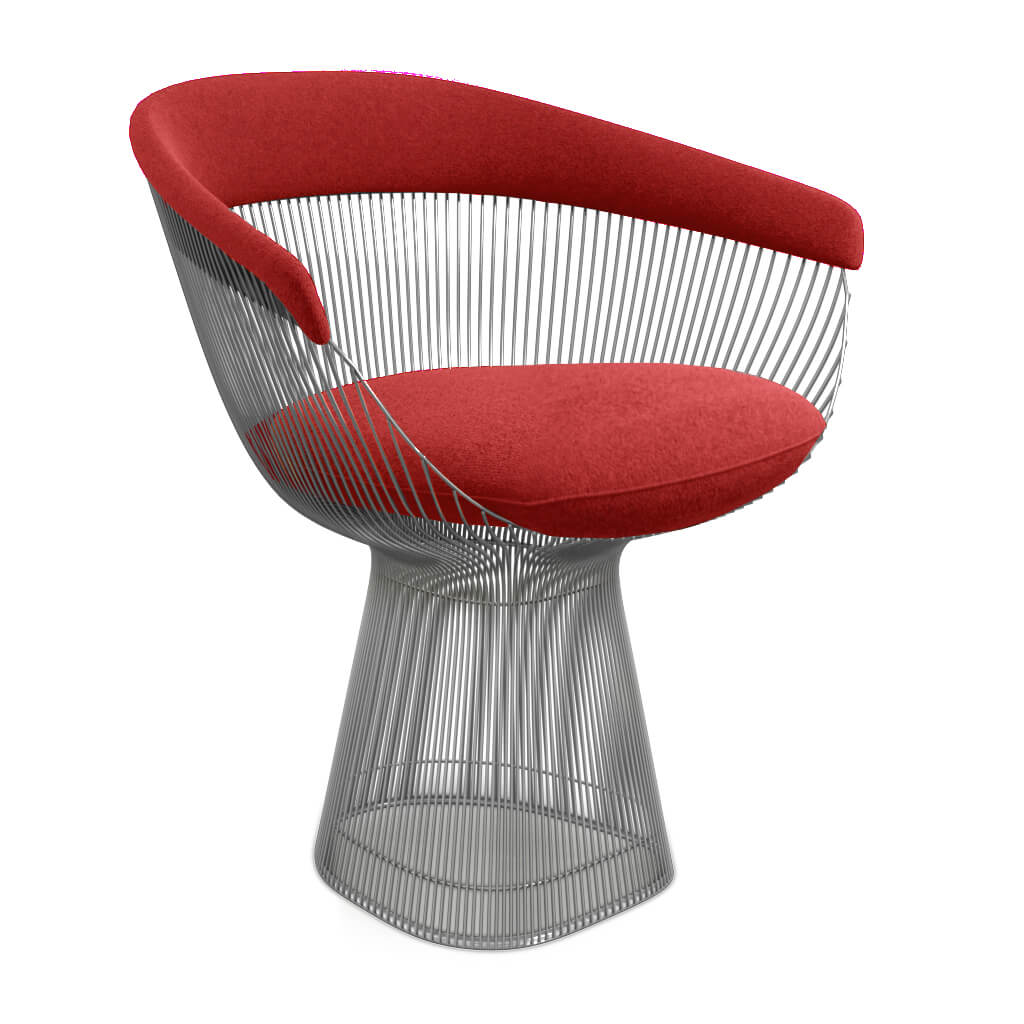 Warren Platner Armchair - Chrome Base - Cashmere-Imperial Red