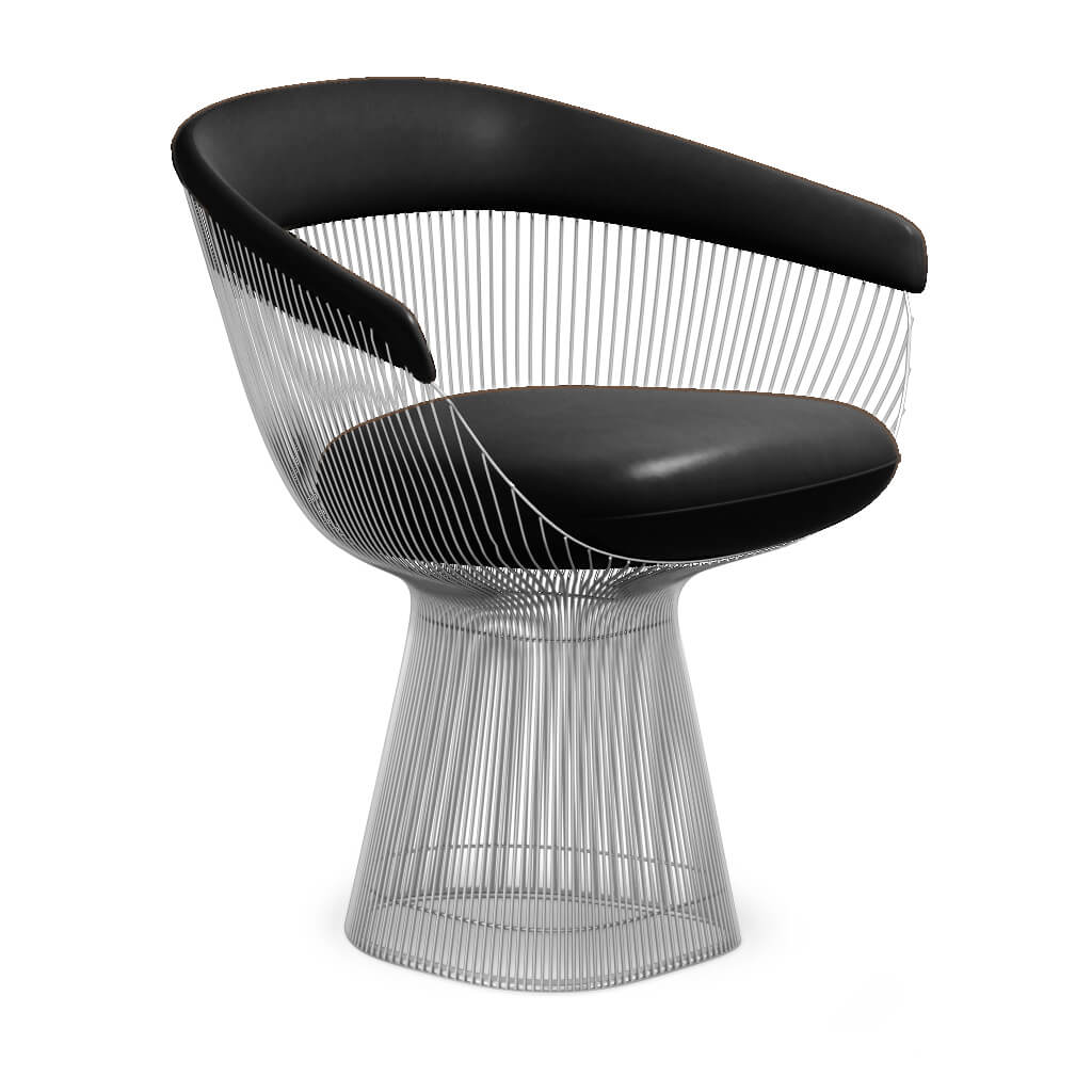 Warren Platner  Armchair - Chrome Base - Aniline-Black