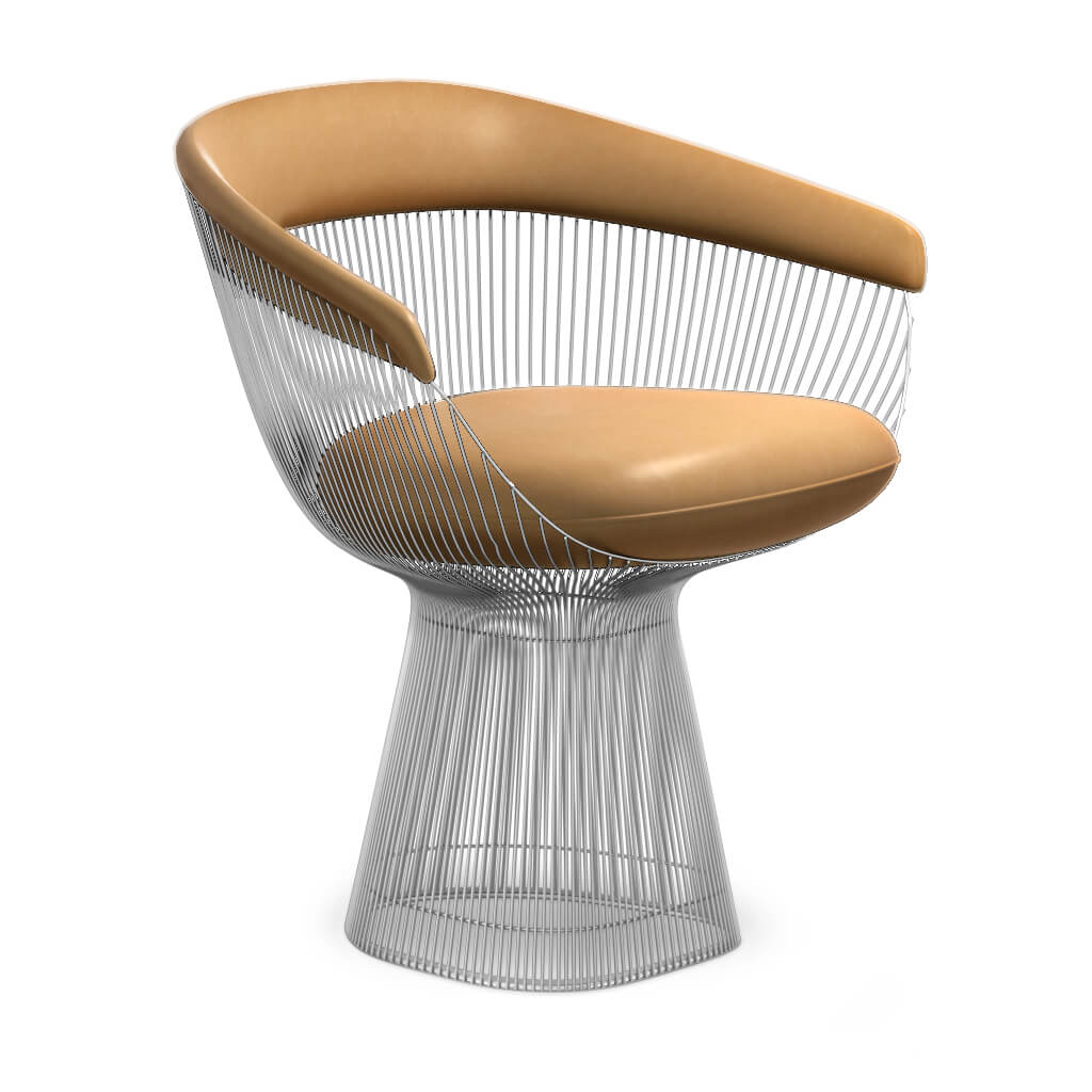 Warren Platner  Armchair - Chrome Base - Aniline-Beige