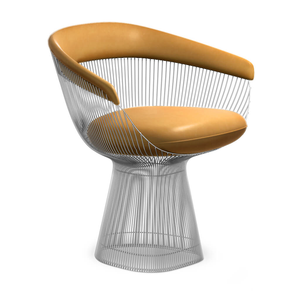 Warren Platner  Armchair - Chrome Base - Aniline-Camel
