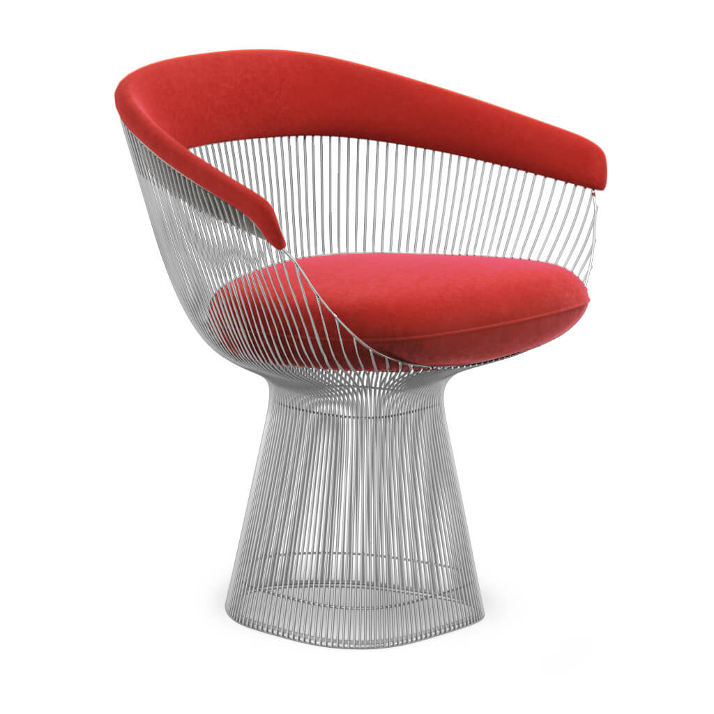 Warren Platner  Armchair - Chrome Base - Boucle Wool-Ruby