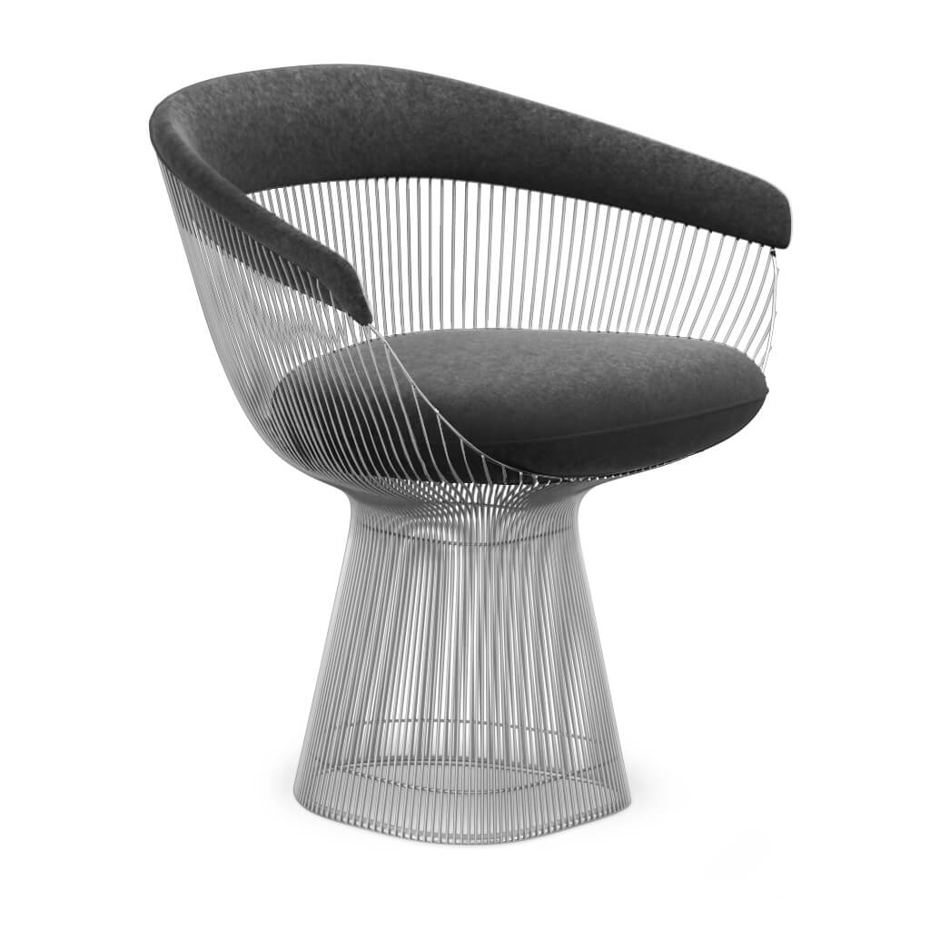 Warren Platner  Armchair - Chrome Base - Boucle Wool-Charcoal Grey
