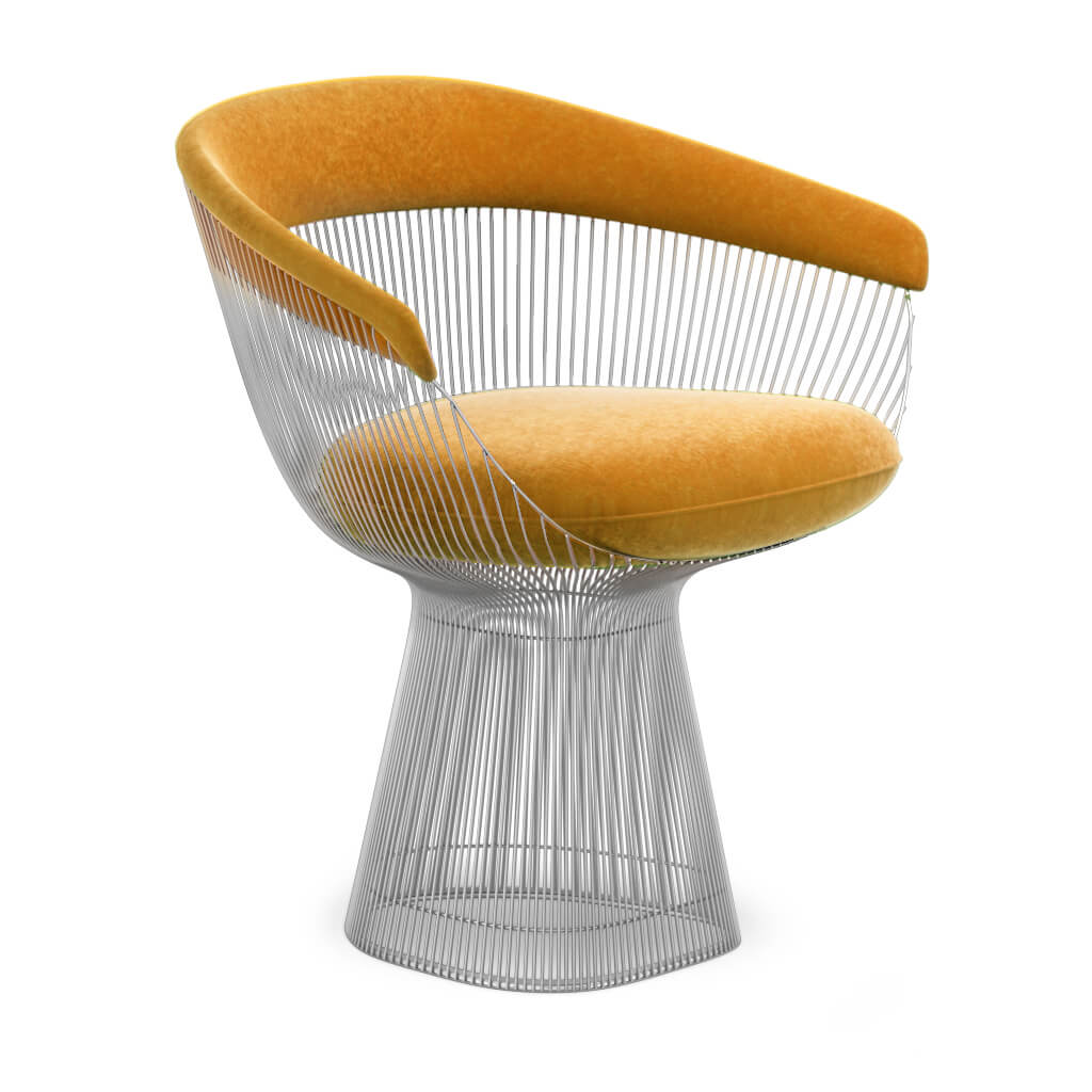 Warren Platner  Armchair - Chrome Base - Boucle Wool-Yellow