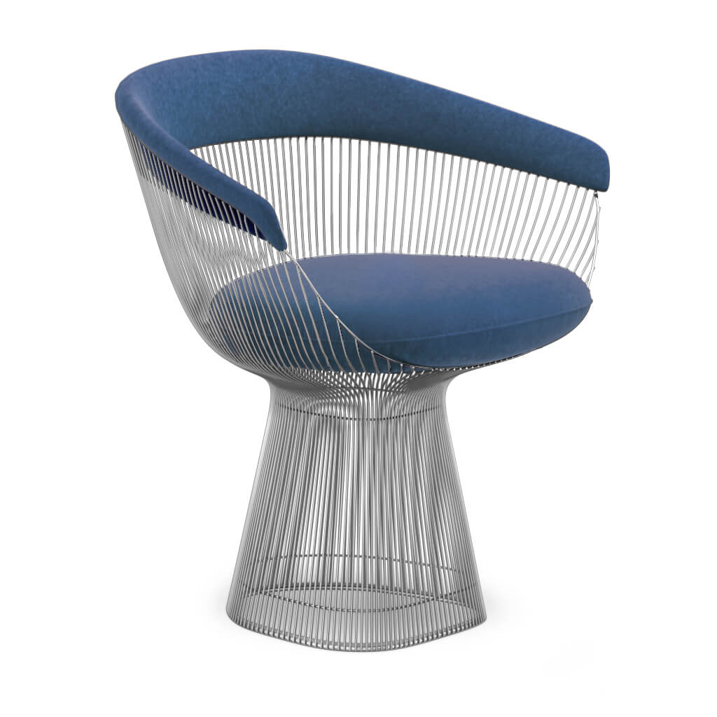 Warren Platner  Armchair - Chrome Base - Boucle Wool-Ocean