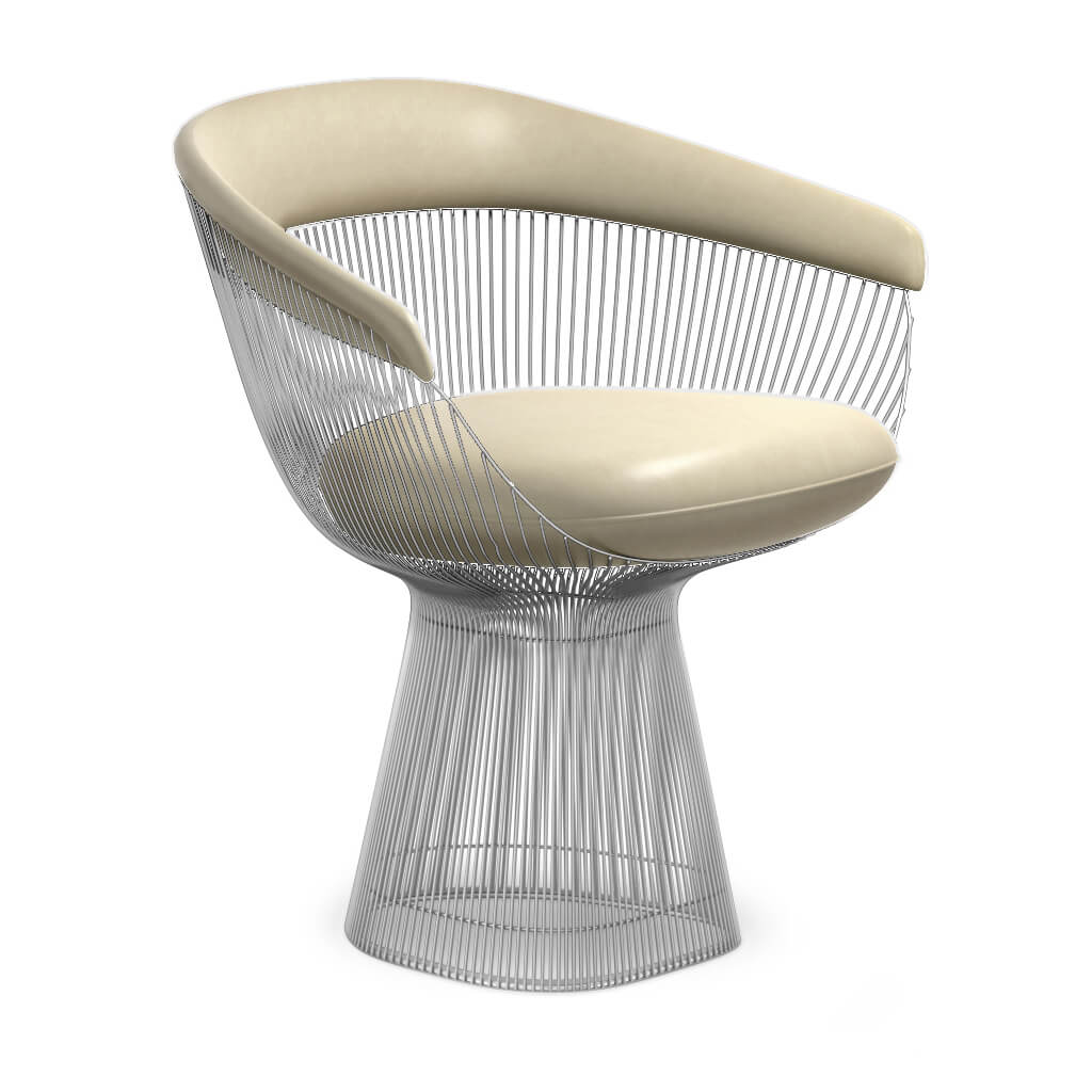 Warren Platner  Armchair - Chrome Base - Aniline-Cream