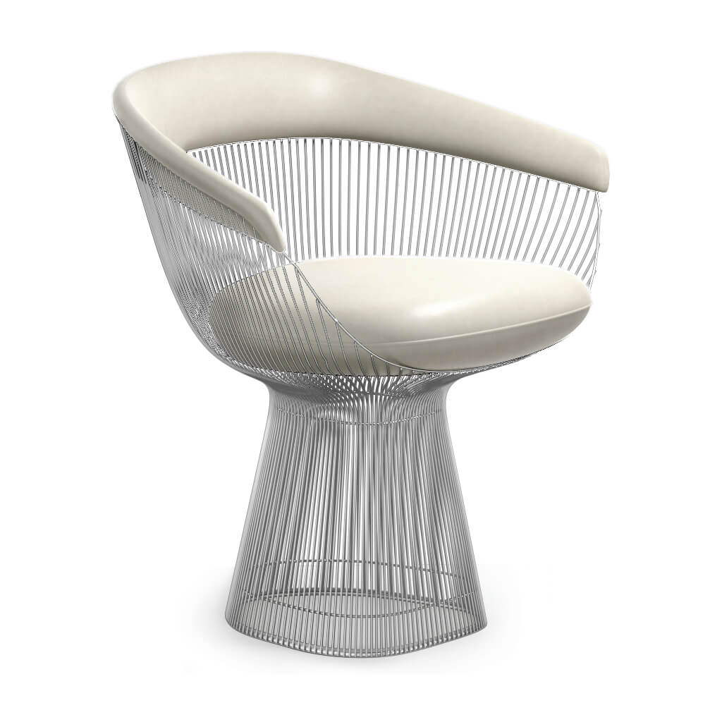 Warren Platner  Armchair - Chrome Base - Aniline-White