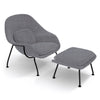 Womb Chair & Ottoman - Black Powder-Coated Steel Legs