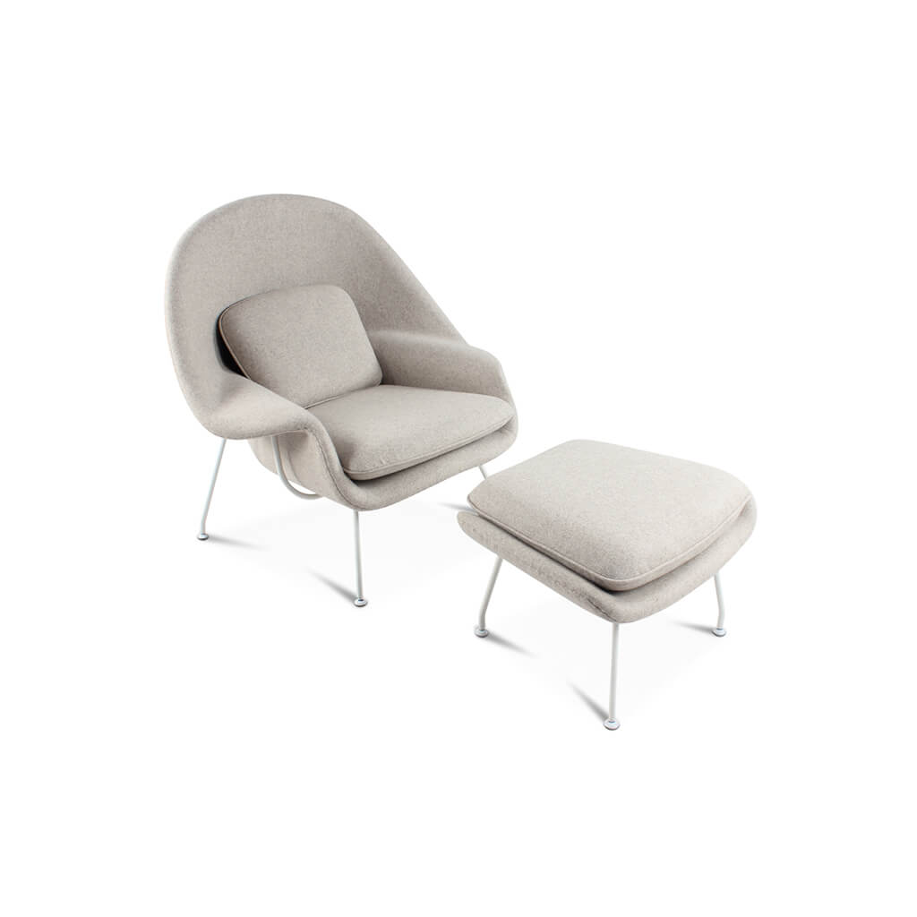 Womb Chair & Ottoman - White Powder-Coated Steel - EternityModern