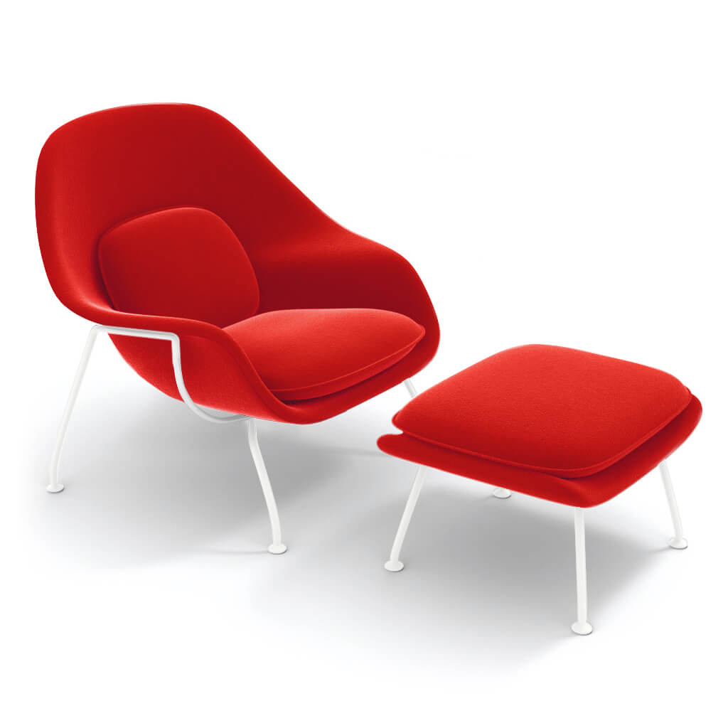 Chair Ottoman White Steel Red foto