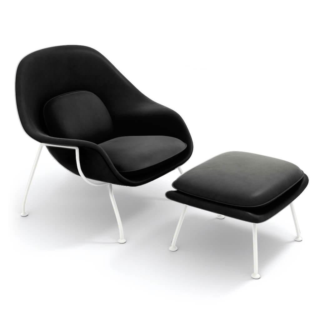 Womb Chair & Ottoman - White Powder-Coated Steel Legs - Aniline Leather-Black