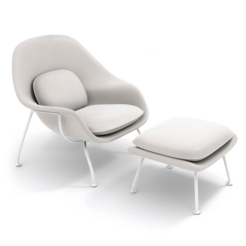 Womb Chair & Ottoman - White Powder-Coated Steel Legs - Aniline Leather-White