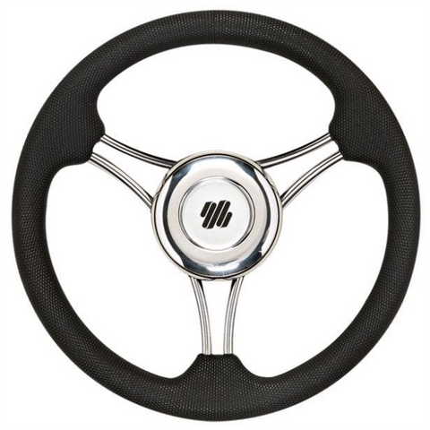 Ultraflex V21B, Stainless Steel Overmoulded Steering Wheel, Black