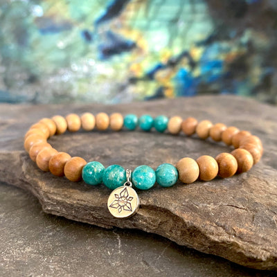 veritable bracelet en amazonite et bois de santal