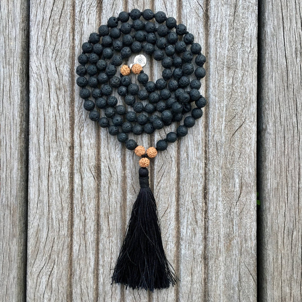 authentique collier mala pierre de lave et rudraksha