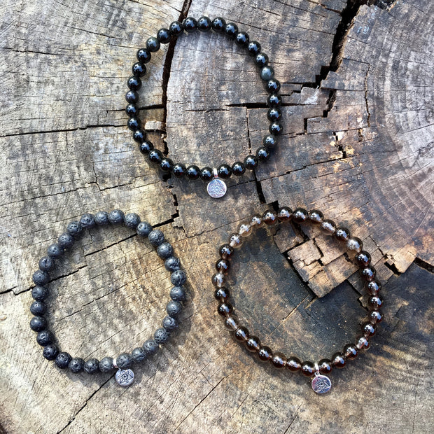 Bracelet triple « Protection » Obsidienne, Lave, Quartz fumé - 6 mm,  - Ankora
