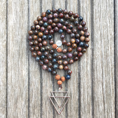 Collier Mala « Optimisme » Pietersite et Rudraksha - 6 mm,  - Ankora
