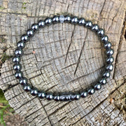 Bracelet Bouddhiste « Courage  » Hematite - Argent 925 - 6mm,  - Ankora
