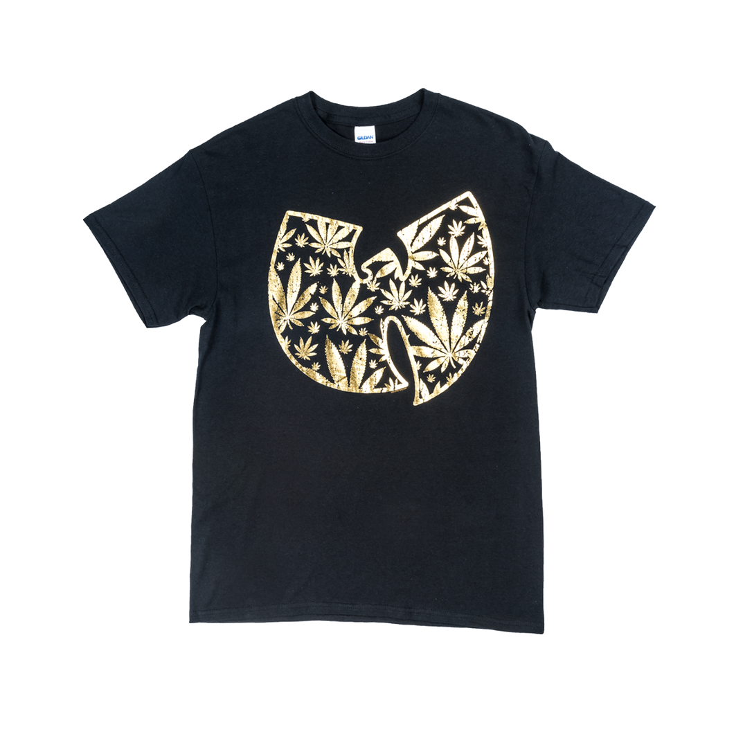 POT LEAF GOLD WU TANG LOGO T SHIRT-Wu Tang Clan