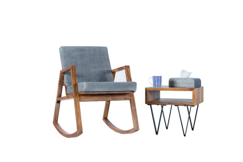 Metric Rocking Chair and Metric Side Table by Casa Suarez