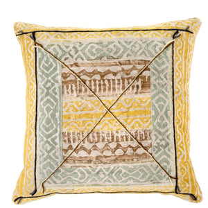 Yellow and Blue Patterned Cushion Cover
