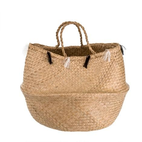 Wicker Basket with Tassles - Casa Suarez