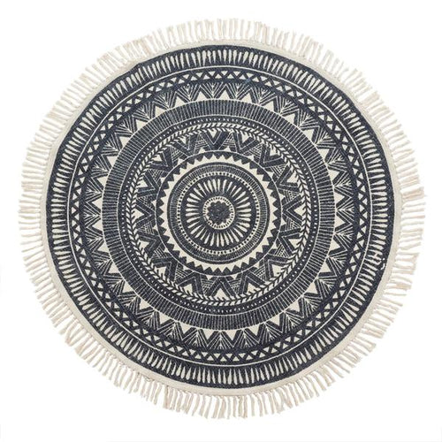 Round Woven Black and White Rug - Casa Suarez