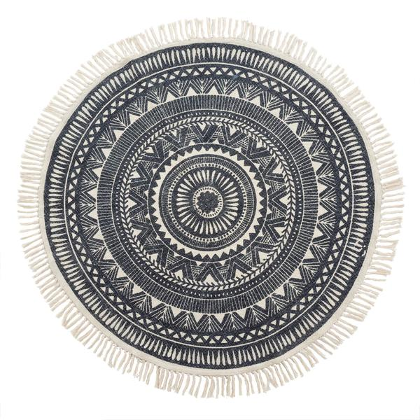 Round Woven Black and White Rug