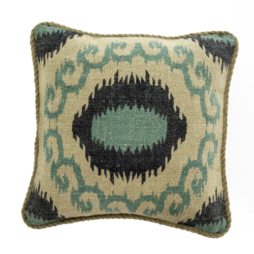 Jute Cushion Medal Feathers - Casa Suarez