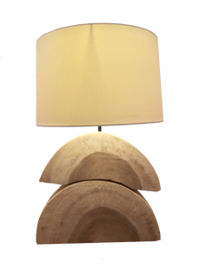 Stacked Wood Halves Table Lamp - casa-suarez-panama