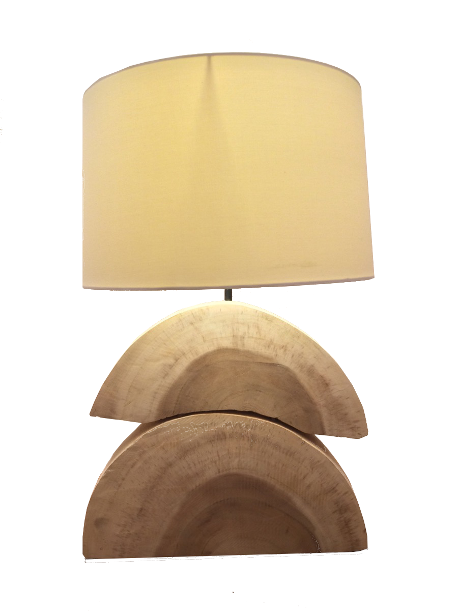 Stacked Wood Halves Table Lamp - Casa Suarez