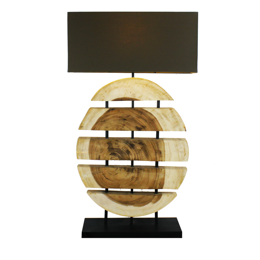 Sliced Wood Lamp with Beige Cotton Shade - casa-suarez-panama