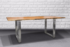 Acacia Slim Dining Table with Metal Base Rosewood - Casa Suarez