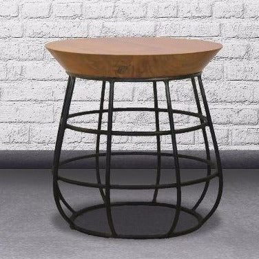 Indie Round Stool with Circle Legs - Casa Suarez