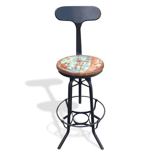 Industrial Bar stool with Back Support - By Casa Suarez