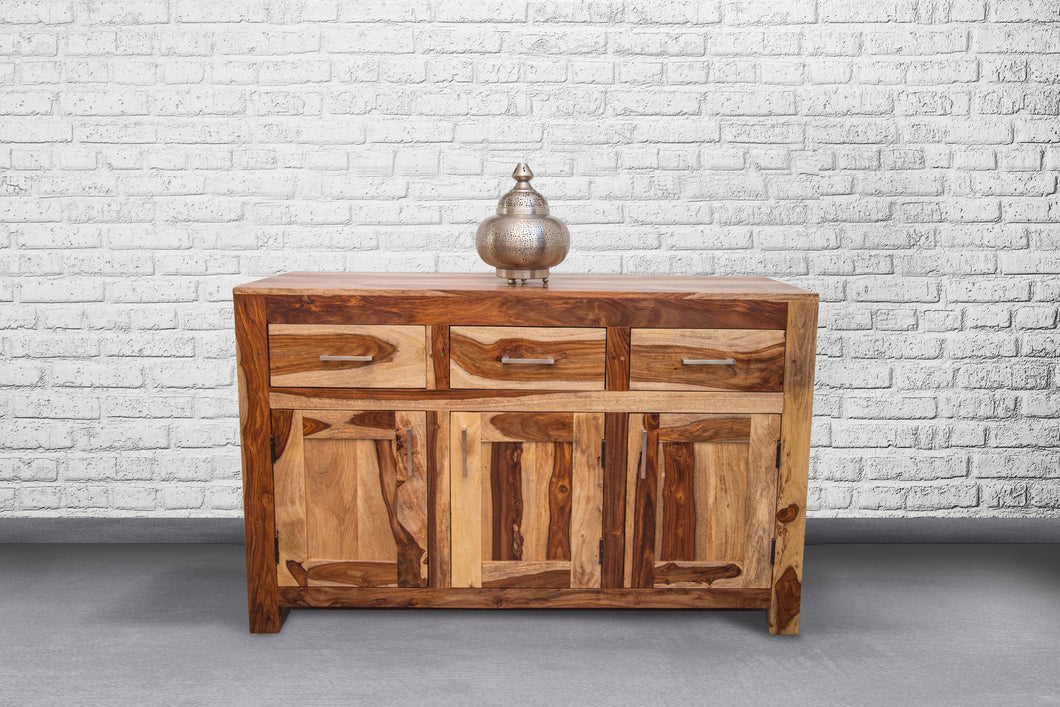 Zen Small Sideboard 3 drawers - 3 doors with metal handles - Rosewood - casa-suarez-panama