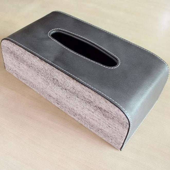 Round Edges Leather Tissue Box - casa-suarez-panama