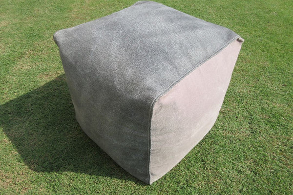 Metric Square Leather Pouf - Casa Suarez