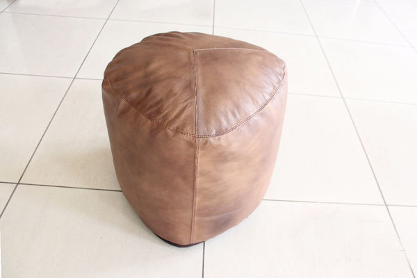 Indie Brown Leather Pouf - Casa Suarez