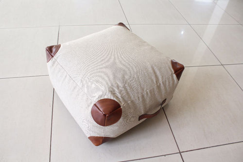 Brown Tipped White Leather Pouf - Casa Suarez