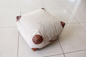 Brown Tipped White Leather Pouf - By Casa Suarez