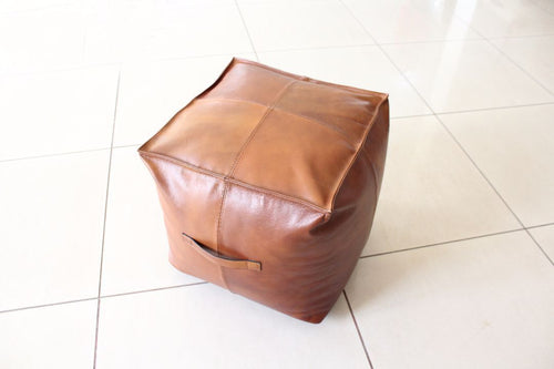 Indie Brown Square Leather Pouf with Handles - Casa Suarez